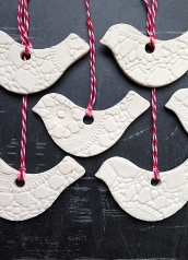 white and red lacy birds christmas decorations ornaments